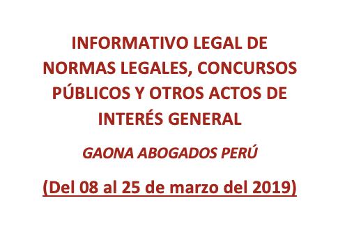 INFORMATIVO LEGAL DE NORMAS LEGALES, CONCURSOS PÚBLICOS Y OTROS ACTOS DE INTERÉS GENERAL