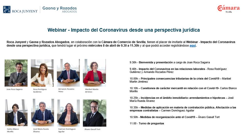 Webinar sobre la normativa COVID-19 y sus consecuencias en la Cámara de Comercio de Sevilla impartido por Roca Junyent-Gaona y Rozados Abogados