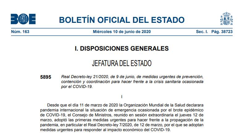 Real Decreto-ley 21/2020